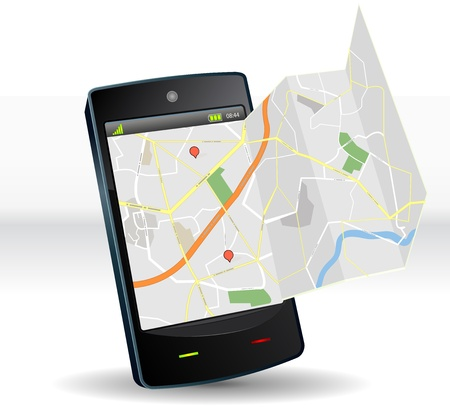 Illustration of a smartphone mobile device with funny real-like street map app software