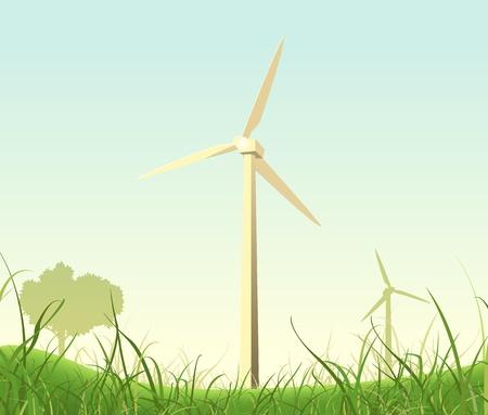 Illustratie van windmolens in de lente of de zomer landschap Stock Illustratie