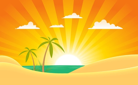 desert sunset: Illustration of a cartoon summer tropical ocean landscape