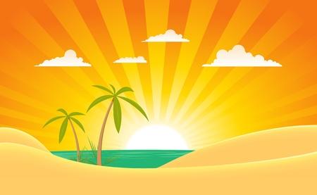 sunset palm trees: Illustration of a cartoon summer tropical ocean landscape