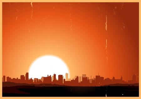 Illustration d'un paysage d'été en milieu urbain dans la chaleur et le lever du soleil Vecteurs