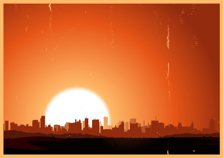 retro sunrise: Illustration of a summer urban landscape in the heat and sunrise