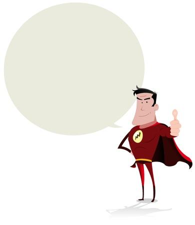 マンガの吹き出し: あなたのコミュニケーションのための音声バブルと漫画の笑みを浮かべてヒーローのイラスト