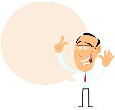 finger tip: Illustration of a cartoon happy businessman message in speech bubble, for advertisement sign or banner
