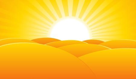 dune: Illustration of a summer desert landscape poster background, for holidays or travel advertisement sign or banner  Illustration