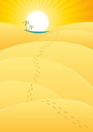 Illustration of a cartoon long journey inside desert landscape with footprints leading to oasis