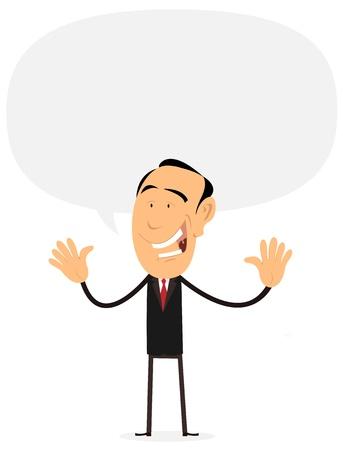 showman: Ilustraci�n de un hombre de negocios de dibujos animados feliz o showman hablar con la gente o el p�blico de teatro