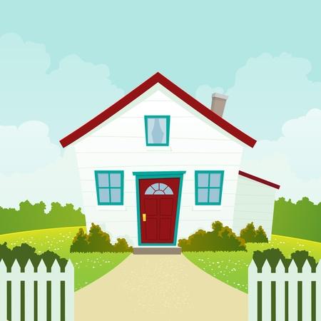 maison: Illustration d'une maison de bande dessin�e dans la saison printemps ou en �t�