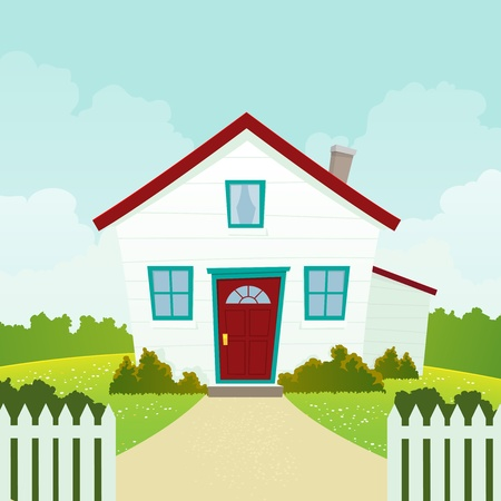 Illustration of a cartoon house in spring or summer season Vector