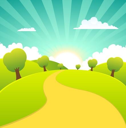 Illustration of a cartoon summer or spring season rural landscape Vettoriali