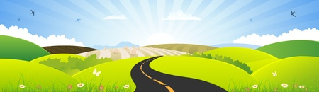 sun road: Illustration of a nature summer or spring season landscape banner, for holidays and seasonal sign or banner