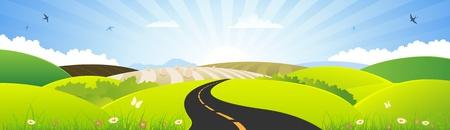 mountain meadow: Ilustraci�n de un verano, la naturaleza o la bandera primavera, estaci�n, paisaje, para las vacaciones y el signo de temporada o la bandera