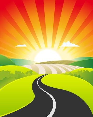 wschód słońca: Ilustracja wiosnÄ… lub sceny sezonie letnim, z drogi w kierunku w kierunku poziomym kreskówki tle plakatu dla rolnictwa przeznaczenia, podróże, wakacje i Å›wiÄ™ta znak  banner