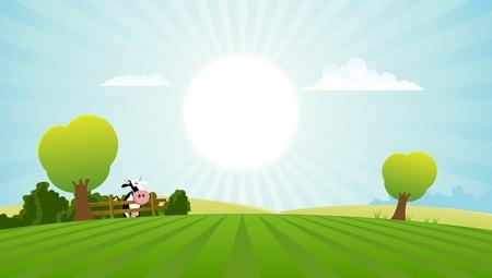 paysage dessin anim�: Illustration d'un paysage printemps ou en �t� avec des vaches laiti�res
