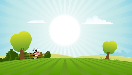 farm animal cartoon: Illustration of a spring or summer season landscape with dairy cow Illustration