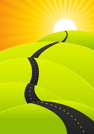 Illustration of a cartoon spring or summer road going to holidays or the top of success Vector