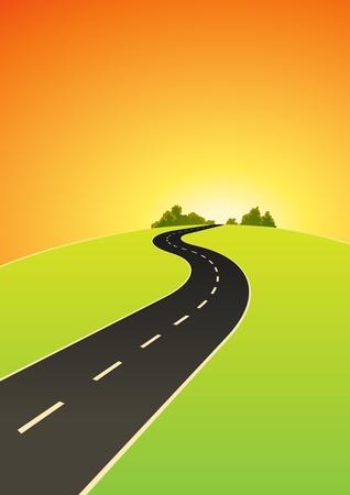 Ilustración de un camino de dibujos animados en dirección a la salida del sol en el horizonte