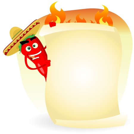 Illustration of a cartoon spice red hot chili pepper with sombrero holding your mexican menu, for south america lunch and specialties, burritos, enchiladas, tacos, tortillas, and spicy cooked meals