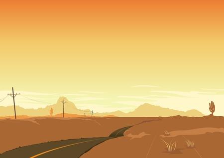 country western: Illustration d'un paysage d�sertique Illustration