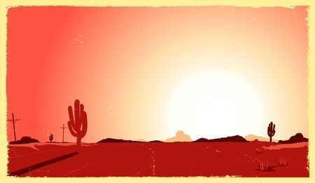Illustration of a vintage desert landscape in the sunset Vector