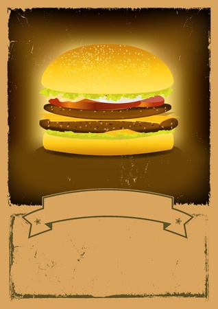 Illustration of a vintage burger poster background Vector