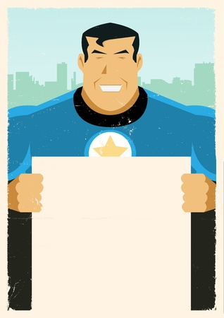 manly: Illustration of a stylized  Hero holding advertisement sign