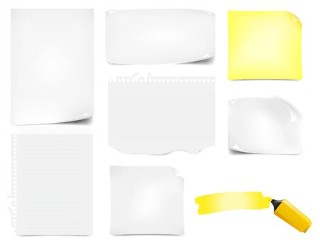 felt tip: Illustration of paper notes in different format as copy space for your advertisement. Set containing also a yellow felt tip pen with line draws Illustration