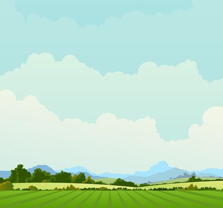 Illustration d'un fond d'affiches pays au printemps ou en été, et aussi début de l'automne