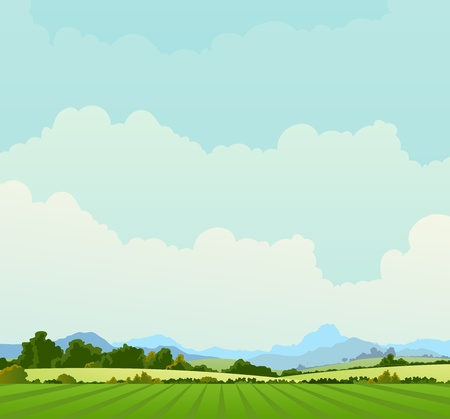 Illustration of a country poster background in spring or summer season, and also beginning of autumn