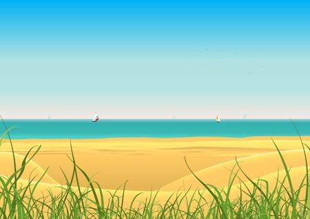 Ilustración de un verano soleado de fondo del cartel de playa, horizonte sobre el agua y veleros