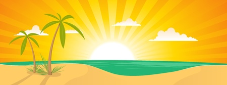 sunrise beach: Illustration of a summer tropical beach horizontal poster background or banner Illustration