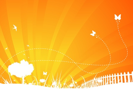 Illustration of an abstract orange garden bi-colored poster background for your season communication, with butterflies insects and summer swallows flying Vector