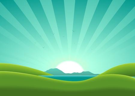 Illustration of a cartoon lake in the summer Illustration