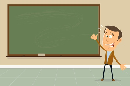 male teacher: Illustration of a cartoon teacher in a classroom showing blackboard to his students Illustration