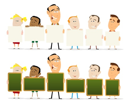 Illustration of a classroom with teachers and childs holdings signs, twoo sets with blank signs and black boards Vector