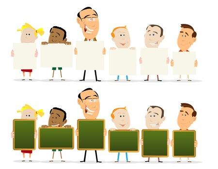 teacher student: Ilustraci�n de un sal�n de clases con los maestros y los signos del ni�o explotaciones, twoo conjuntos con signos en blanco y negro tarjetas Vectores