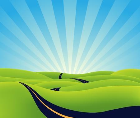 grün: Illustration einer Karikatur langen Weg in Richtung Horizont, als Symbol für Länge, Zeit, Ewigkeit oder spirituellen Zweck