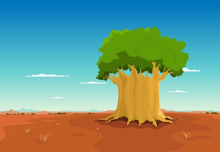 Illustration of a cartoon african landscape, with baobab tree and wide african panorama  for the background Vector