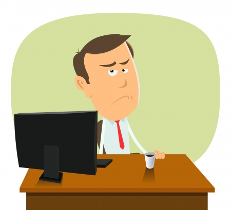 Illustration of a cartoon sad trader or banker in slump time Vector