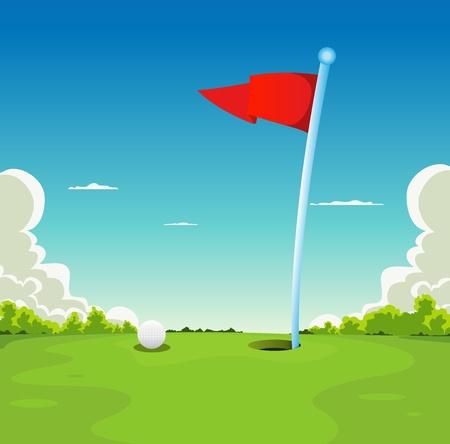 gaten: Illustratie van een golf sport landschap, met golfbal en vlag op putting green grass Stock Illustratie