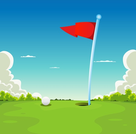 golf field: Illustration of a golf sport landscape, with golf ball and flag on putting green grass Illustration
