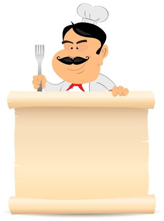 masters: Illustration of a chef cook holding parchment. To use as a blank sign to display your  restaurant menu