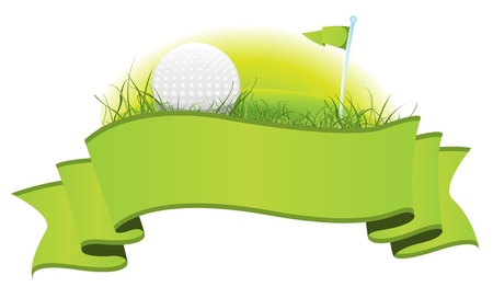 imagery: Illustration of a green golf banner with imagery elements of this sport, ball, flag and  putting green