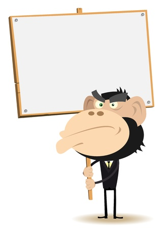 Illustration of a cartoon unhappy gorilla businessman, looking at you claiming for  something on a wood sign Çizim
