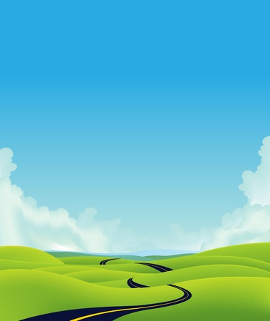 Illustration of a cartoon long road going towards horizon with mountains silhouettes behind Vector