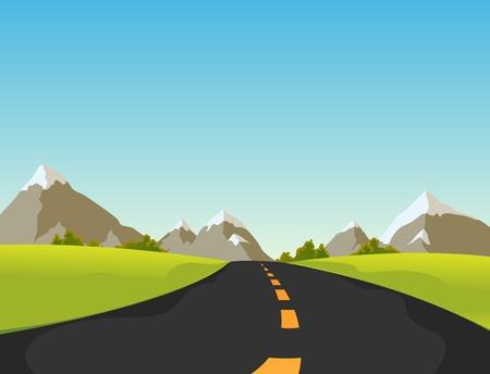 prato e cielo: Illustrazione di una strada semplice, simpatico cartone animato di montagna