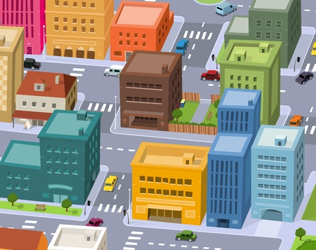 Illustration of a cartoon city scene, with aerial view of downtown traffic Vector Illustration