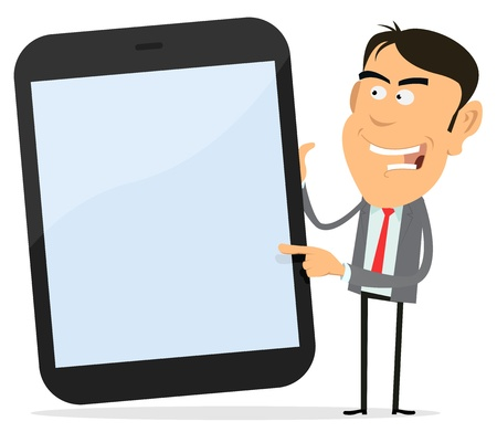result: Illustration of a cartoon tablet PC with happy businessman pointing the screen