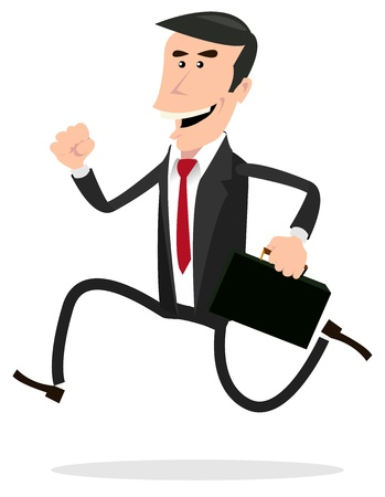curse: Illustration of a cartoon businessman running and holding his briefcase