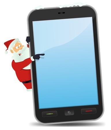 wish list: Illustration of Santa Claus pointing smartphone sign for christmas list Illustration